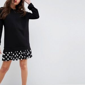ASOS 2 in 1 Dress With Pleated Spot Hem